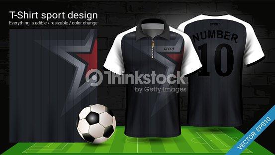 Camiseta Polo Con Cremallera Fútbol Jersey Deporte Maqueta Template ... e1c4fcbf47736