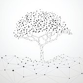 wireframe tree with technology concept