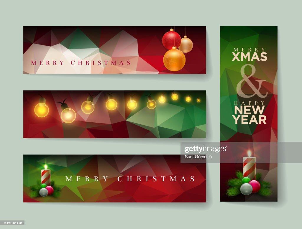 Polygon Christmas Banner Collection : Vector Art
