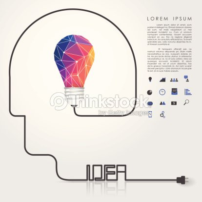 Polygon Idea Light Bulb With Business Icon And Head Wire Vector Art
