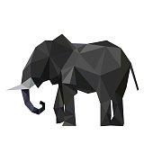 Polygon illustration of elephant, vector triangle design