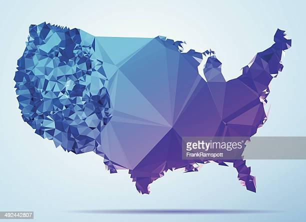 USA Polygon Triangle Map Blue
