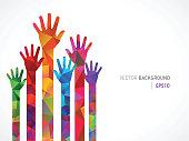 Polygonal Colored Human Hands
