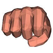 Polygonal fist in low poly technique for fight and power illustrations