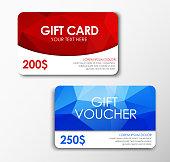 Template red gift card, blue gift voucher. Design polygonal gift card and voucher. Set. Vector illustration.
