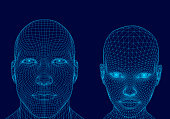 Polygonal head of man and girl. Wireframe head human. 3D. Dark blue background. Vector illustration.