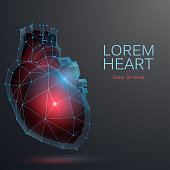 Polygonal heart medicine background in vector