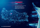 Polygonal map of Turkey. Floating blue plexus geometric background. Creative abstract vector illustration. High tech, communications and travel. Effect of motion luminous particles and points.