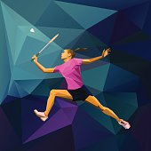 Polygonal professional female badminton player on colorful low poly background doing smash shot with space for flyer, poster, web, leaflet, magazine. Vector illustration