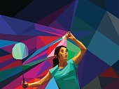 Polygonal professional female badminton player on colorful background with space for flyer, poster, web, leaflet, magazine. Vector illustration