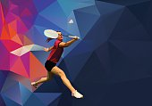 Polygonal professional female badminton player on colorful low poly background doing smash shot with space for flyer, poster, web, leaflet, magazine. Sports banner template. Vector illustration