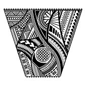 Polynesian tattoo style sleeve vector design. Trapeze shape mayan body art black stencil template.