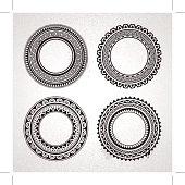 Set of circle polynesian tattoo styled frames. Vector illustration.