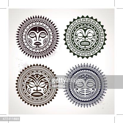 Polynesian tattoo styled masks : stock vector