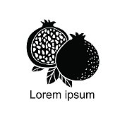 Pomegranate fruit slice, whole, leafs, black silhouette set isolated on white background, art logo design - vector artwork