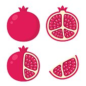 Pomegranate icon set. Cartoon illustration of whole pomegranate, cut in half, with skin peeled and a wedge.