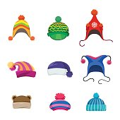 Pompons winter hats set isolated on white background, vector illustration
