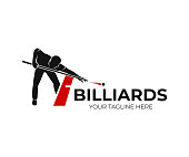 Pool billiards, human next to red table with snooker cues and balls, icon design. Billiards sport game and tournament with player, vector design and illustration