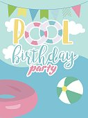Pool party invitation card. Summer beach party. Vector illustration
