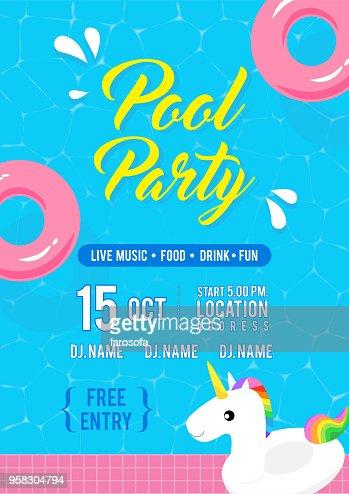 Pool Party Invitation Flyer Illustration Vectorielle Vue De Dessus