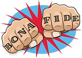 Vintage Pop Art Bona Fide Punching Fists. Great illustration of pop Art comic book style punching directly at you with the classic hooligan tattoo message.