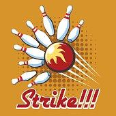 Bowling strike retro poster. Pop art bowling strike label, Vector illustration