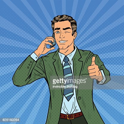 Pop Art Businessman Talking on Phone and Gesturing Thumb Up : stock vector