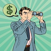 Pop Art Businessman with Binoculars Looking for Money. Vector illustration