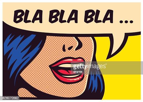 Pop art comic book girl talking non-sense gossip vector illustration : stock vector