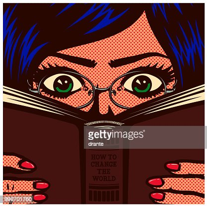 Pop art comic book nerdy bookworm female student girl studying and reading book vector illustration : stock vector