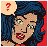 Pop art style comics panel with puzzled, perplexed or confused woman and speech bubble with question mark vector poster design illustration