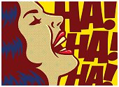 Pop art style comics panel woman laughing out loud vector illustration