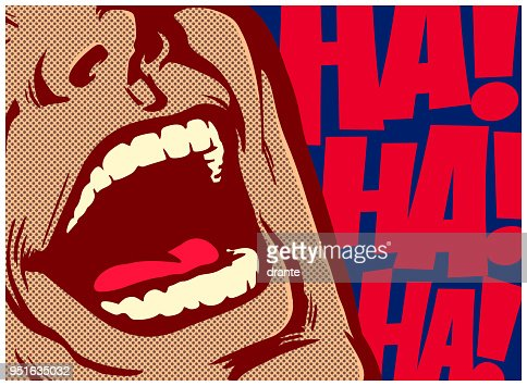 Pop art comic book style mouth of man laughing out loud vector illustration : stock vector