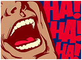 Pop art style comics panel mouth of man laughing out loud lol comedy vector illustration