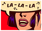 Pop art style comic book panel with woman singing carefree naive childish melody in speech bubble vector poster artwork design illustration