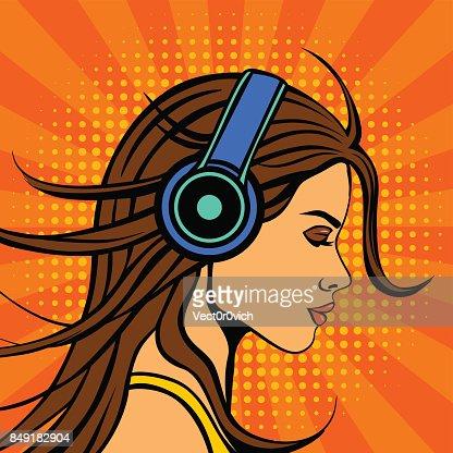 Pop Art Comic Book Vintage Woman Listening Music In Headphones
