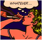 Pop art comic book careless desperate girl binge drinking to forget problems champagne bottle alcohol abuse vector illustration