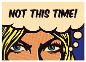 Pop art comic book panel blond woman with resolute eyes determined to react and face adversities and fight for her rights, vector illustration