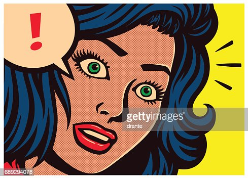 Pop art comics panel surprised girl and speech bubble with exclamation mark vector illustration : stock vector