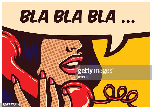 Pop art comics panel with woman talking on vintage phone and speech bubble vector illustration : stock vector
