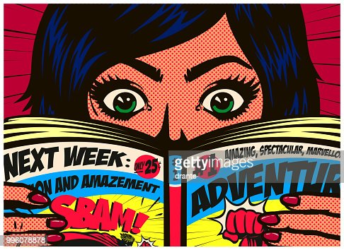 Pop art comics style excited girl reading comic book or graphic novel vector illustration : stock vector