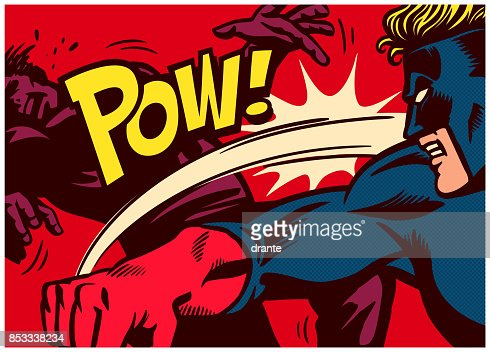 Pop art comics style superhero fighting and punching super villain vector illustration : stock vector