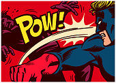 Pop art comic book style panel with superhero throwing punch and beating super villain with 'pow' onomatopoeia vector illustration