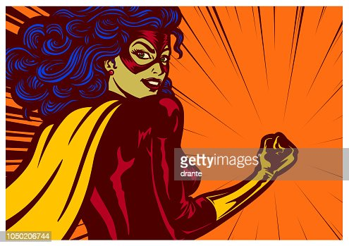 Pop art comics style superheroine with clenched fist female superhero vector illustration : stock vector