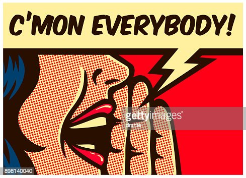Pop art comics style woman calling and yelling out loud with speech bubble vector illustration : stock vector