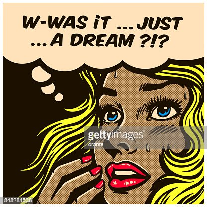 Pop art comics style wondering woman can't tell reality from fantasy vector illustration : stock vector