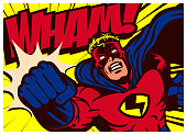 Pop art comic book style superhero punching with wham onomatopoeia vector illustration