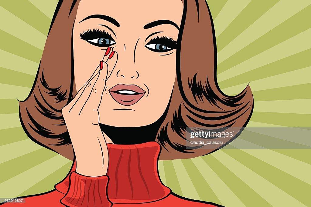 Arte pop engraçado mulher retro no estilo comics com mensagem : Arte vetorial