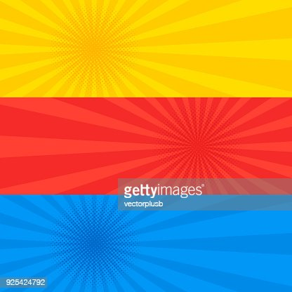 Pop art dotted retro style yellow red and blue banner set. : stock vector