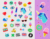 Pop art fashion chic patches, pins, badges, cartoons and stickers